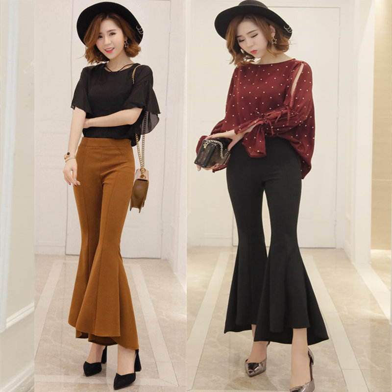 Spring and summer XS plus small size high waist slim irregular Capris female Korean leisure pants micro flared pants students