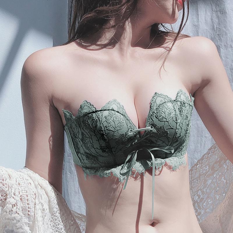 内衣内裤套装女无钢圈小胸文胸聚拢多情猫无肩带防滑性感隐形胸罩(用10元券)