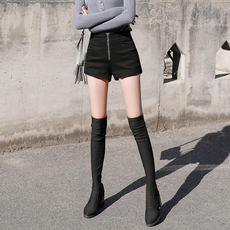 黑色高腰牛仔短裤女2019新款秋冬打底外穿a字百搭加绒显瘦靴裤潮
