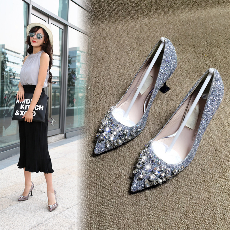 Spring 2017 new red black silver high heeled womens shoes pointed Sequin bridal shoes diamond single shoes