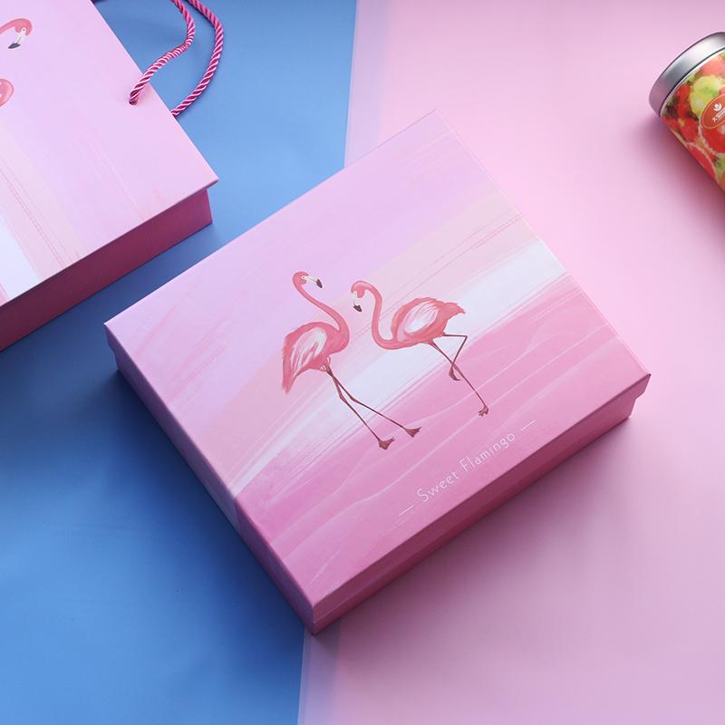 臻忆美粉色少女心火烈鸟礼品包装盒正品保证