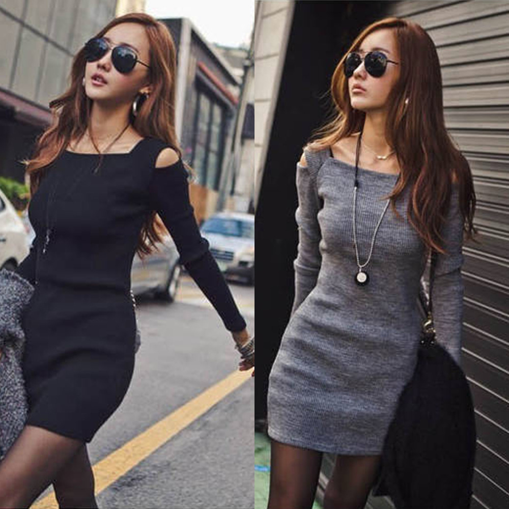 Tracksuit for women Korean Mini Dress Square Neck Long Sleev