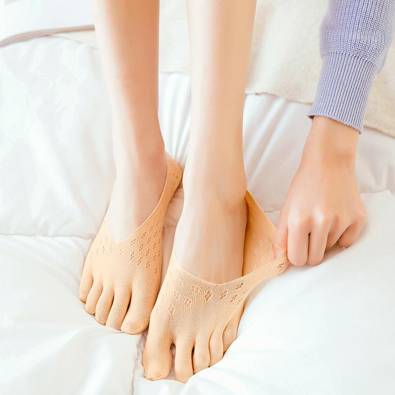 5双装夏季硅胶防掉跟五指袜女隐形袜底船袜薄丝袜防勾丝天鹅绒