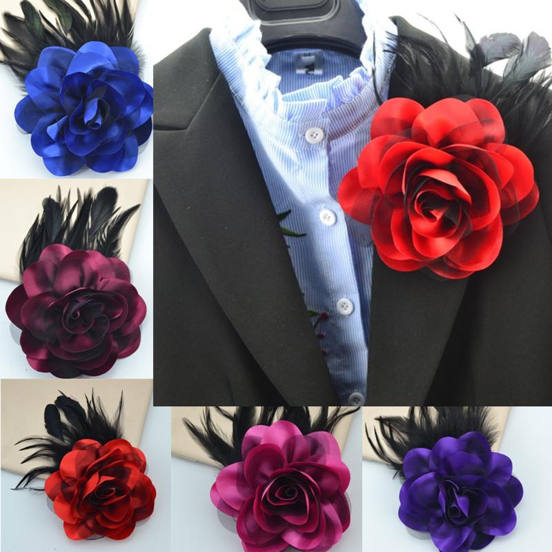 Big Feather Brooch cloth flower opening three dimensional rose accessories high grade cloth Brooch shoulder flower headdress