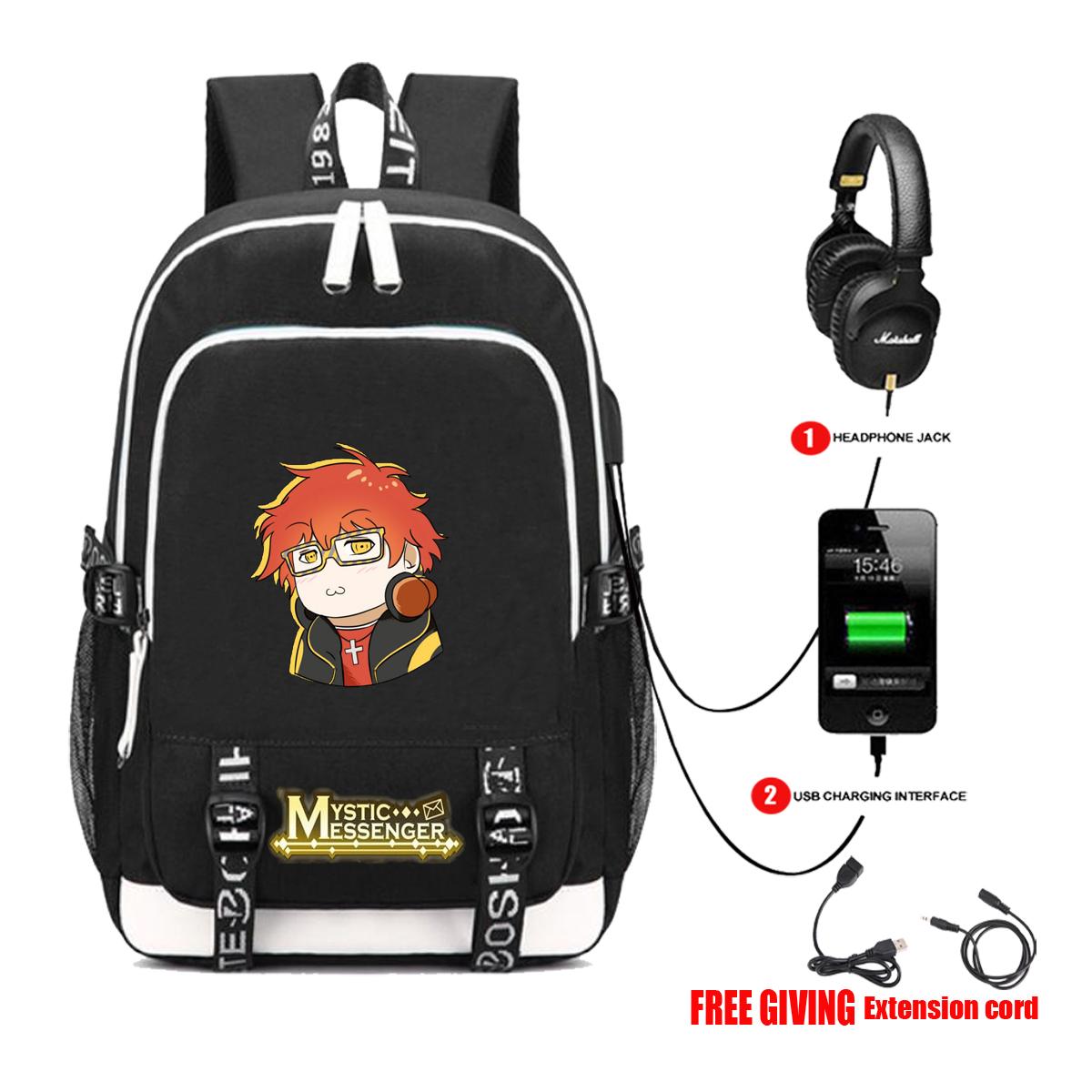 Cartoon mysterious messenger Backpack Travel Backpack student schoolbag USB headset interface multifunctional computer bag