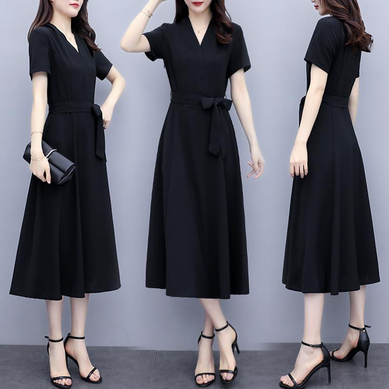 2020夏装新款女大码遮肚子显瘦减龄洋气阔太太长裙胖mm雪纺连衣裙