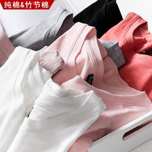 夏裝純棉短袖t恤女2019新款韓版竹節棉寬鬆ins半袖百搭大碼上衣潮