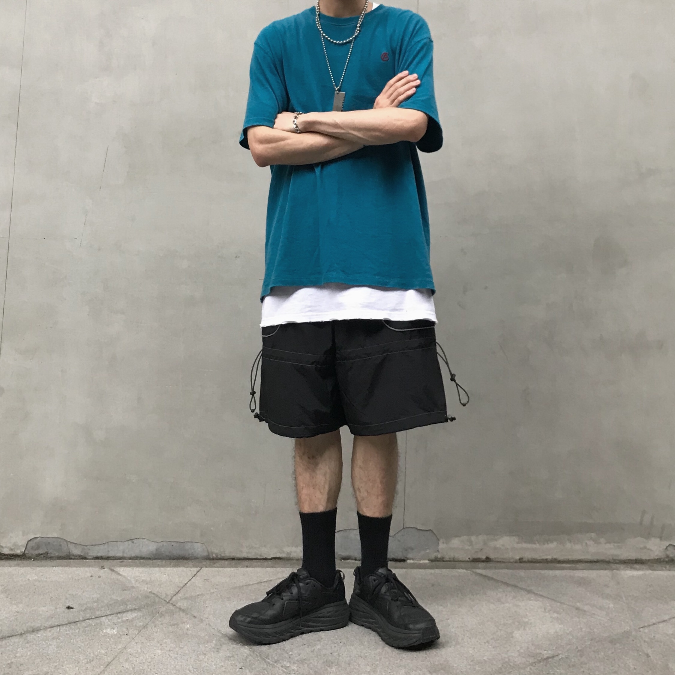 [cliche] fashionable elastic drawstring reflective logo casual versatile functional shorts for men and women