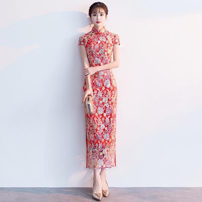 敬酒服旗袍2020新款少女年輕款紅色改良新娘結婚禮服女中國風長款