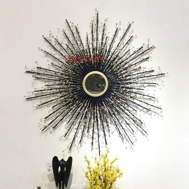 欧式简约铁艺餐厅墙面装太阳镜子壁饰创意客厅壁挂墙上装饰包邮