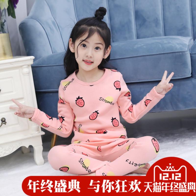 Девочки внутри тепло одежда костюм зимний осенний с дополнительным слоем пуха сгущаться ребенок домой одежда в больших детей девушка осенняя одежда осенние брюки пижама