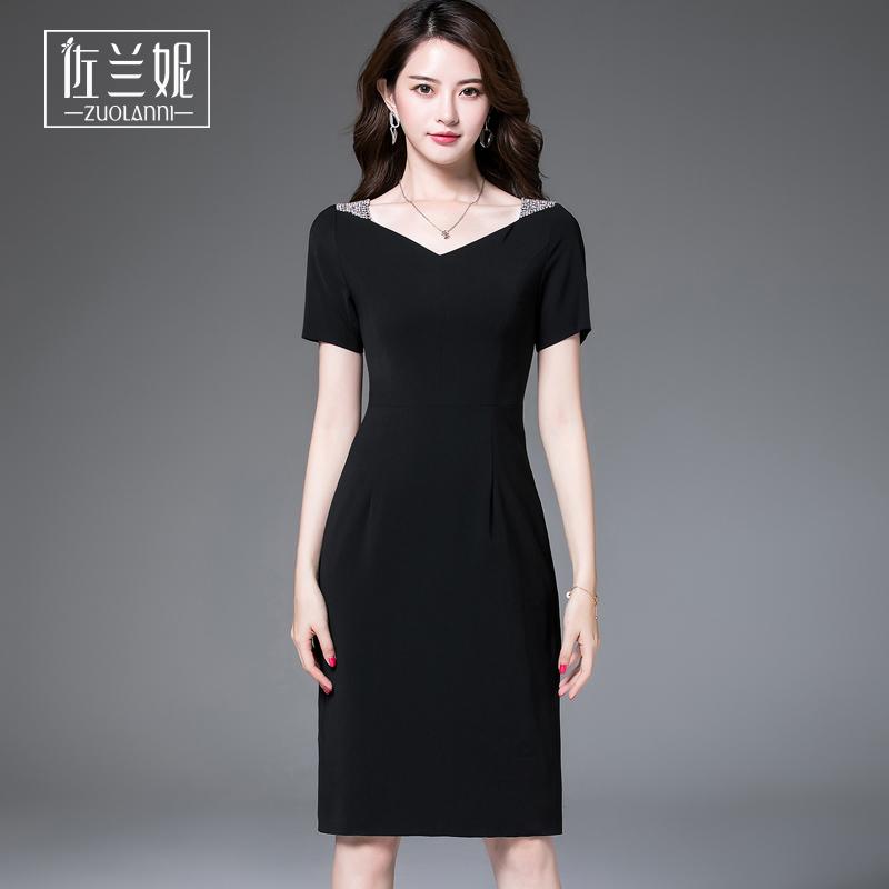 2018新款显瘦时尚名媛气质OL连衣裙职业正式场合女装赫本小黑裙夏