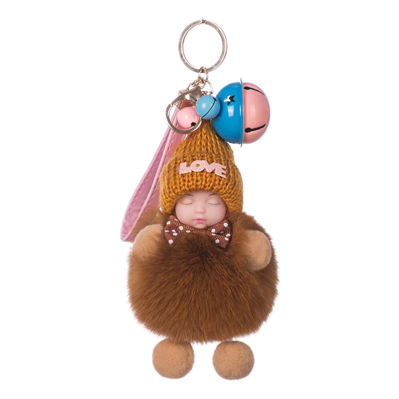 真狐貍毛毛球掛件睡眠娃娃包包掛件毛絨配飾品車鑰匙扣掛件可愛女