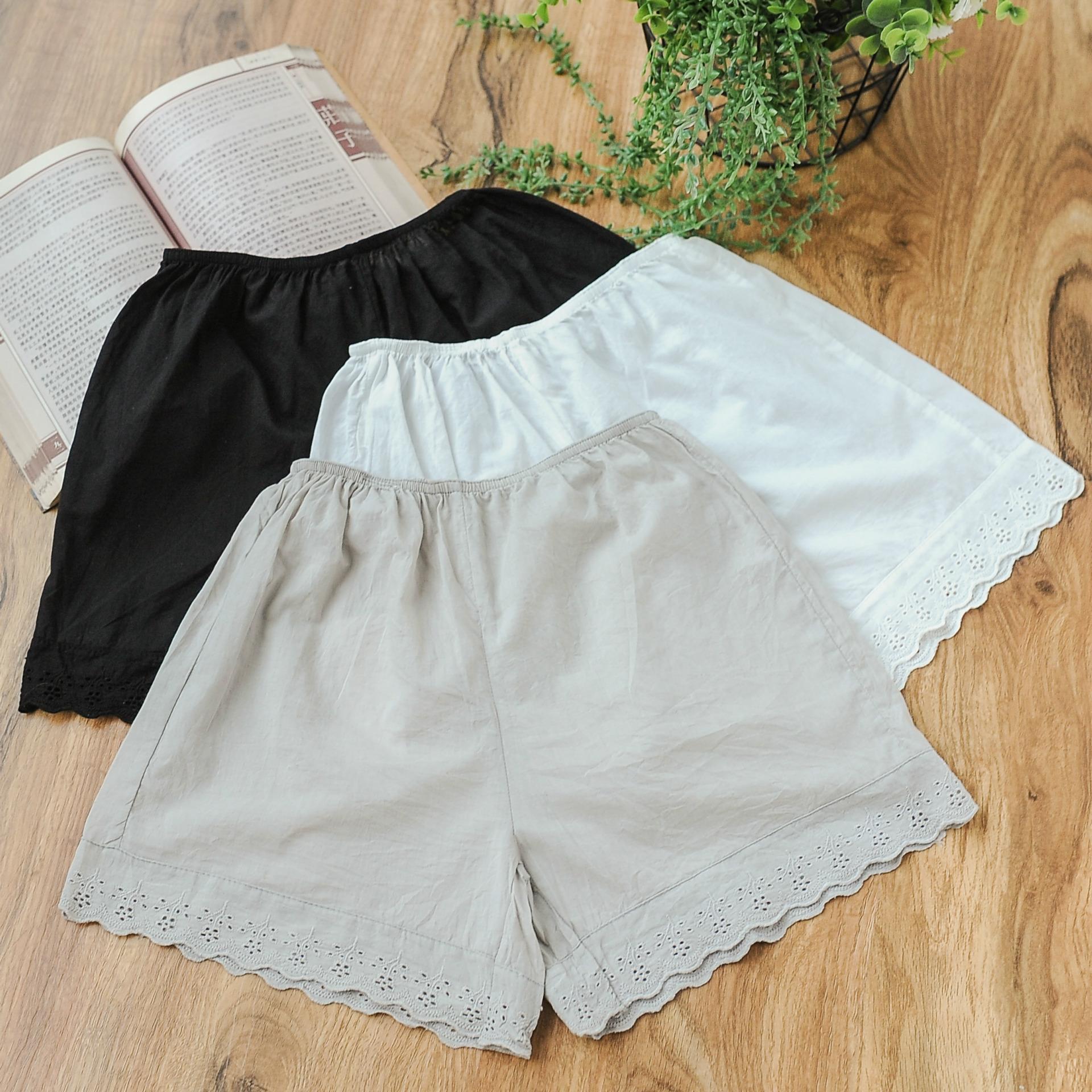 安全裤女纯棉 夏季薄款外穿防走光短裤大码不卷边宽松蕾丝打底裤