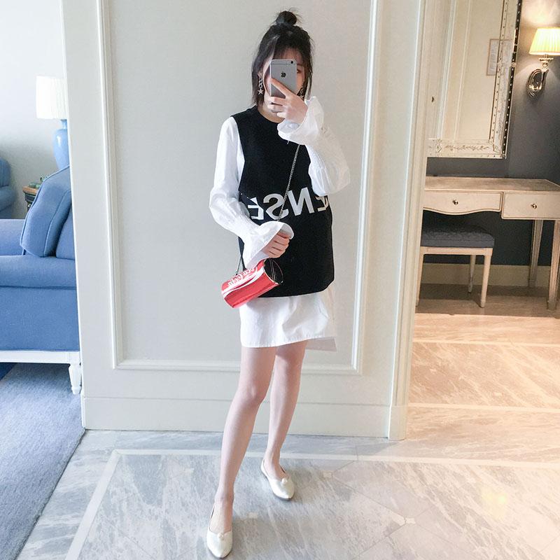 Беременная женщина пружинный установлены пальто 2018 новый корейский свободный рубашка большой двор поддержка свитер жилет костюм двойка