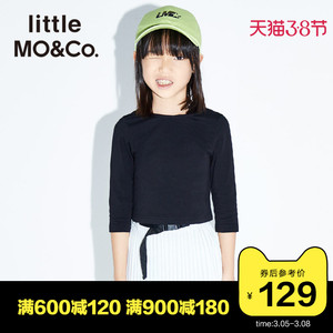 little moco童装2020夏季儿童女上衣洋气时髦露背短款女童T恤