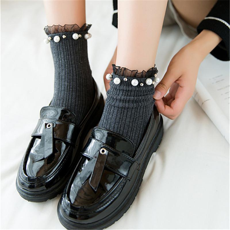 2018秋冬新款纯棉女袜日系花边珍珠短袜纯色中筒袜堆堆袜少女袜子