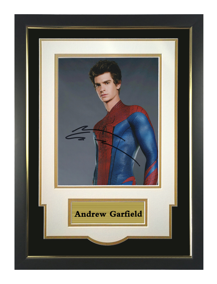 Autographed photo by Andrew Garfield of spider man with certificate framed