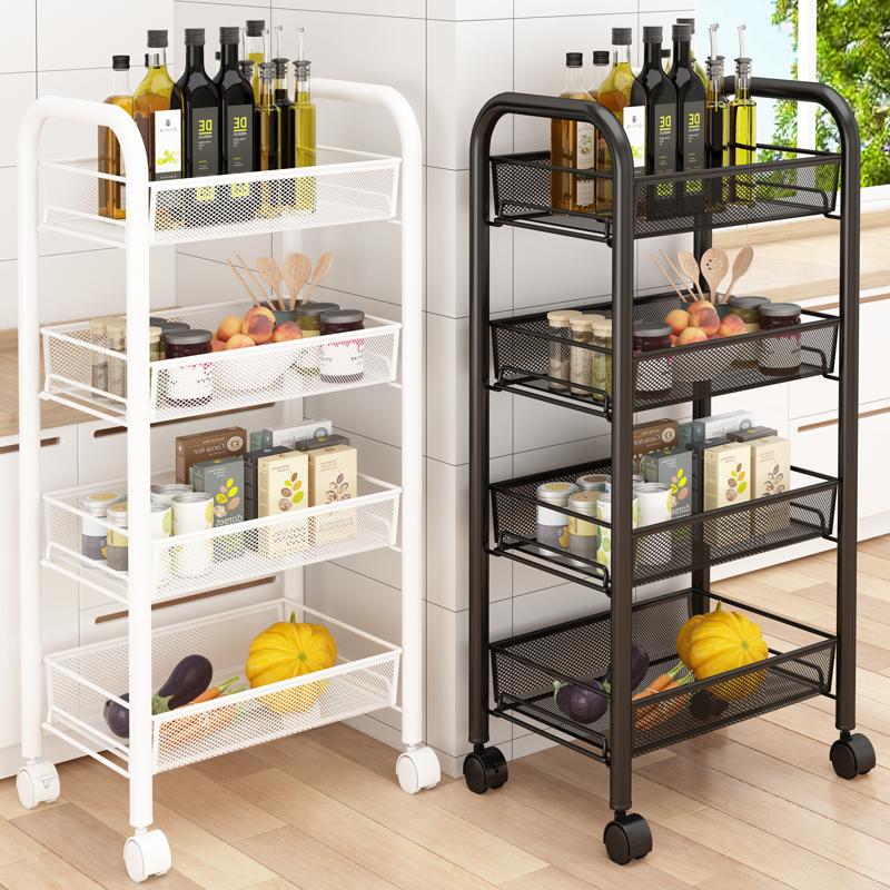 厨房置物架落地多层可移动家用小推车储物收纳架蔬菜篮子用品大全