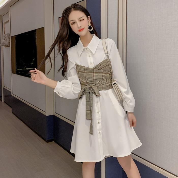 御姐女神范衬衫裙女2019秋新款韩版收腰显瘦拼接系带假两件连衣裙