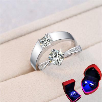 结婚戒指仿真钻戒一对情侣假对戒