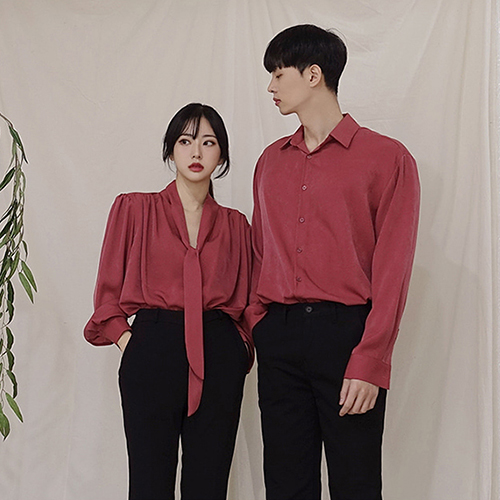 2019 autumn new Korean couple casual solid color long sleeve shirt womens mid long lace up shirt dress