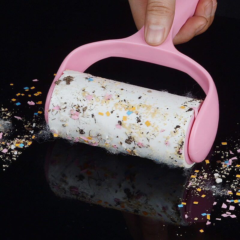 家用粘毛器可撕式滚筒吸毛器衣服粘尘纸滚轮衣物沾除尘纸除毛刷子,可领取2元天猫优惠券