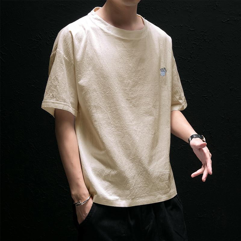 短袖t恤男潮牌潮流夏季宽松刺绣纯棉男士半袖大码五分袖纯色衣服(非品牌)