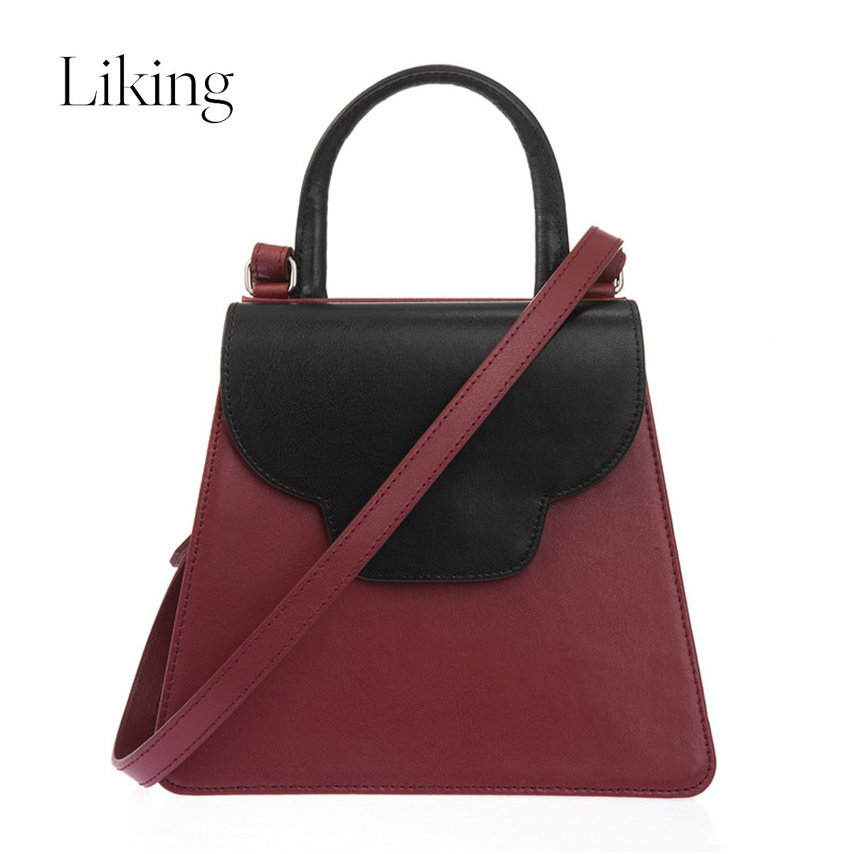 Atelier Park 女士红色拼黑色牛皮挎包 ALBBG01 04 Red Black