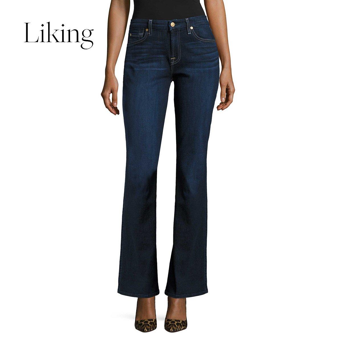 7 for all mankind game Ms. Wen Fu Ao Mander blue high waist bell bottom jeans