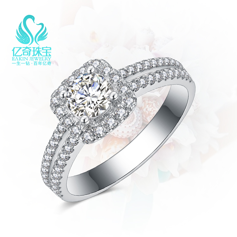 IQI 18K White Gold 30 point diamond ring with 50 point diamond womens ring genuine 1 carat diamond ring customized proposal ring