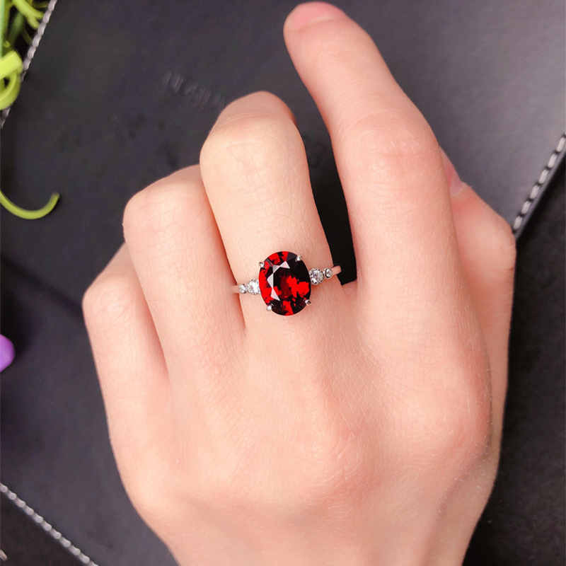 Natural wine ruby ring female opening 925 Sterling Silver Garnet Ring simple and generous jewelry gift