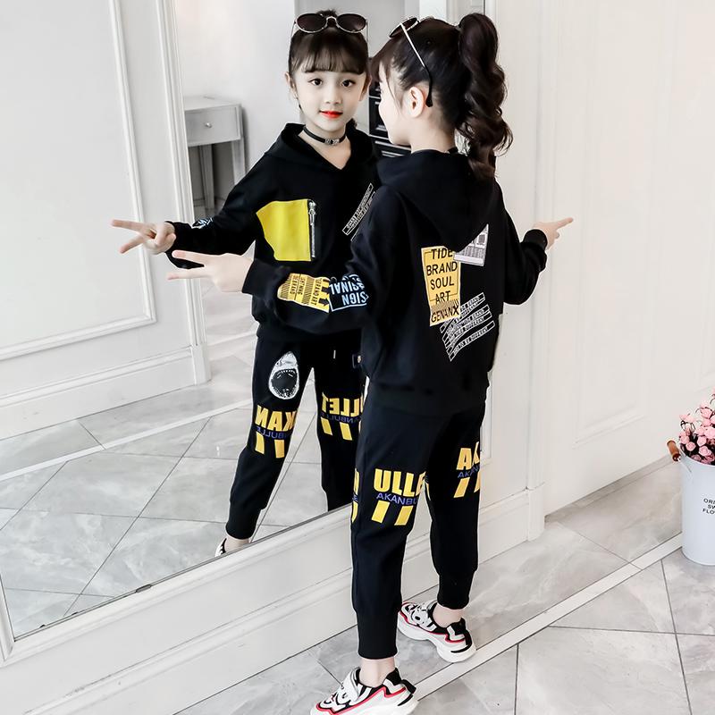 女童秋装套装2019新款儿童洋气衣服女孩春秋卫衣时髦网红两件套潮