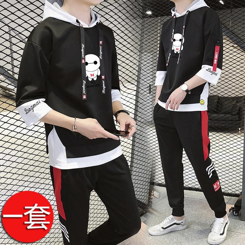 短袖男孩韩版中学生潮流12帅气秋装T恤卫衣服套装青少年15岁长袖