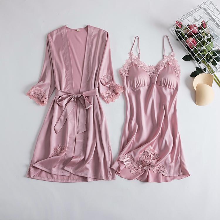 春秋性感睡衣女夏季薄款冰丝绸吊带睡裙睡袍两件套带胸垫新娘晨袍