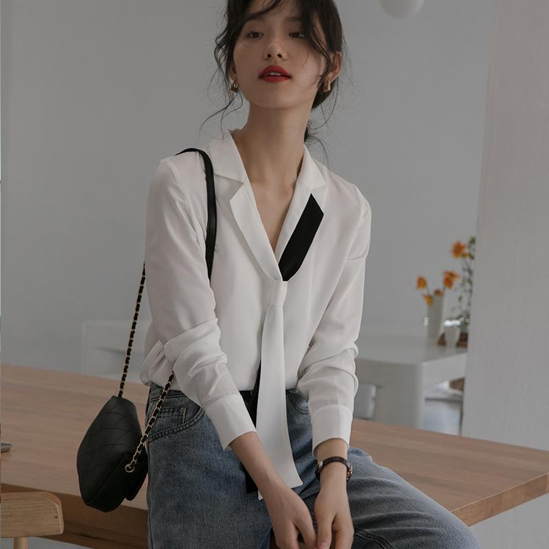 法式雪纺白色衬衫女设计感小众轻熟女士衬衣v领领带职业上衣显瘦109.00元包邮
