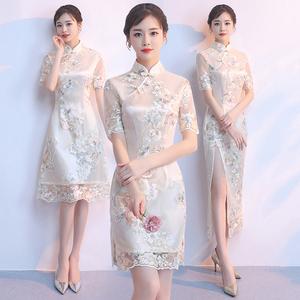 领3元券购买旗袍式2019新款女夏季时尚少女短款中国风年轻款改良版连衣裙夏款