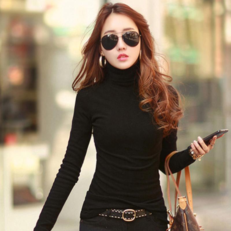 Womens long sleeve autumn winter thin versatile black Korean thermal top solid color slim cotton T-shirt