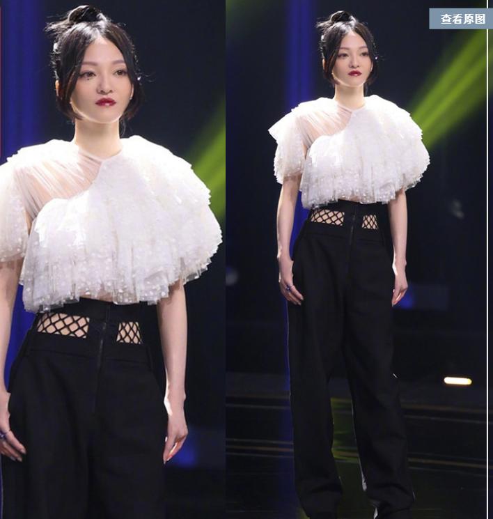 Zhang Shaohans same shirt with chiffon dot Ruffle Top and high waist trousers
