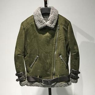上品【苏】韩版翻领休闲军绿色羊羔毛外套2019冬新款品牌折扣女装
