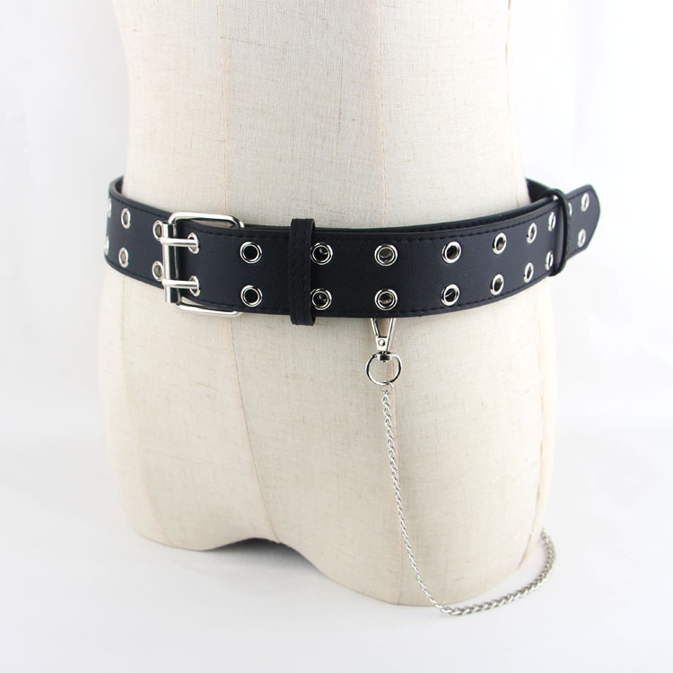 包邮双排孔皮带女配牛仔裤百搭腰带凹造型黑色链条针扣装饰裤带潮