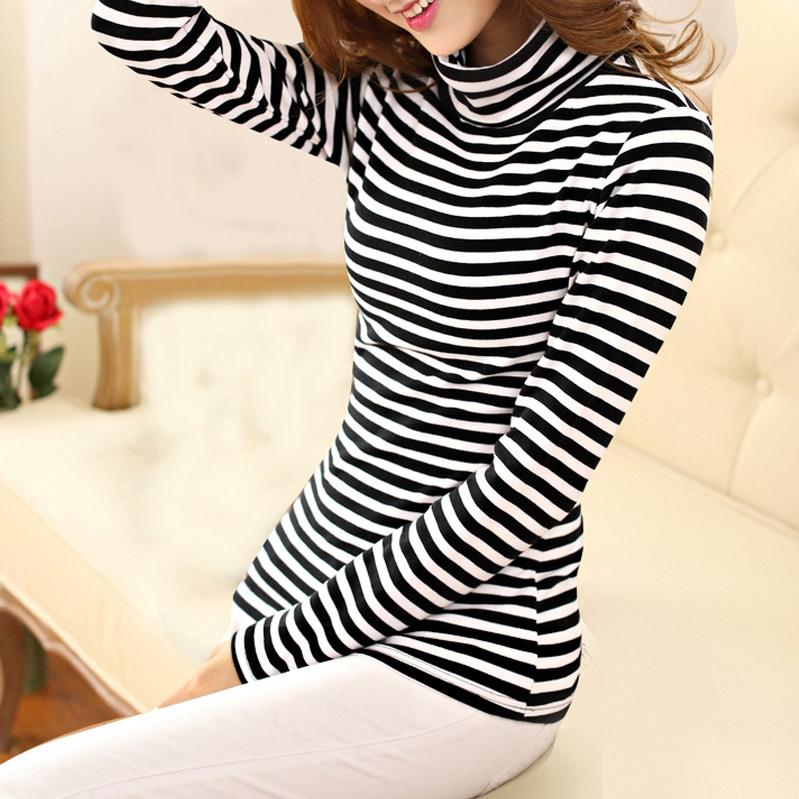 黑白條紋高領薄絨 加絨保暖打底衫