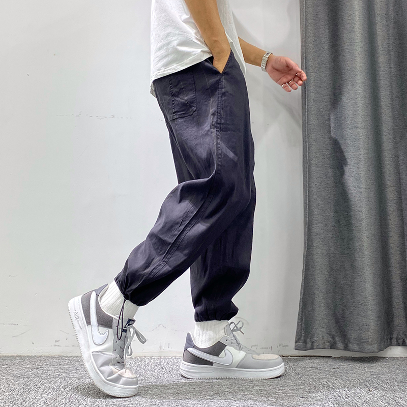 Seven second spring new mens slim fit urban yuppie style Multi Pocket trendy work clothes micro elastic leisure pants