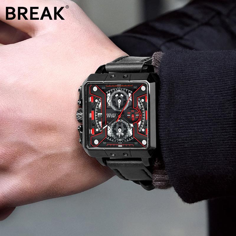 break方形手表男士多功能防水夜光潮流时尚个性休闲机械风格男表券后299.00元