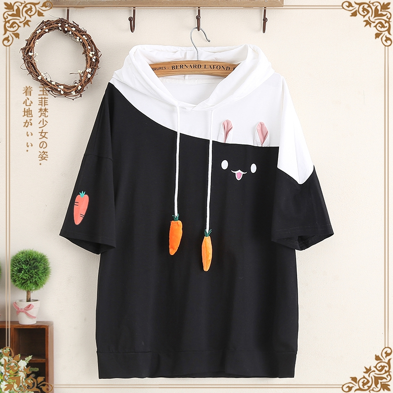 Jade 1 junior high school students short-sleeved T-shirt with hood summer cute loose t-shirt big boy new girly outfit