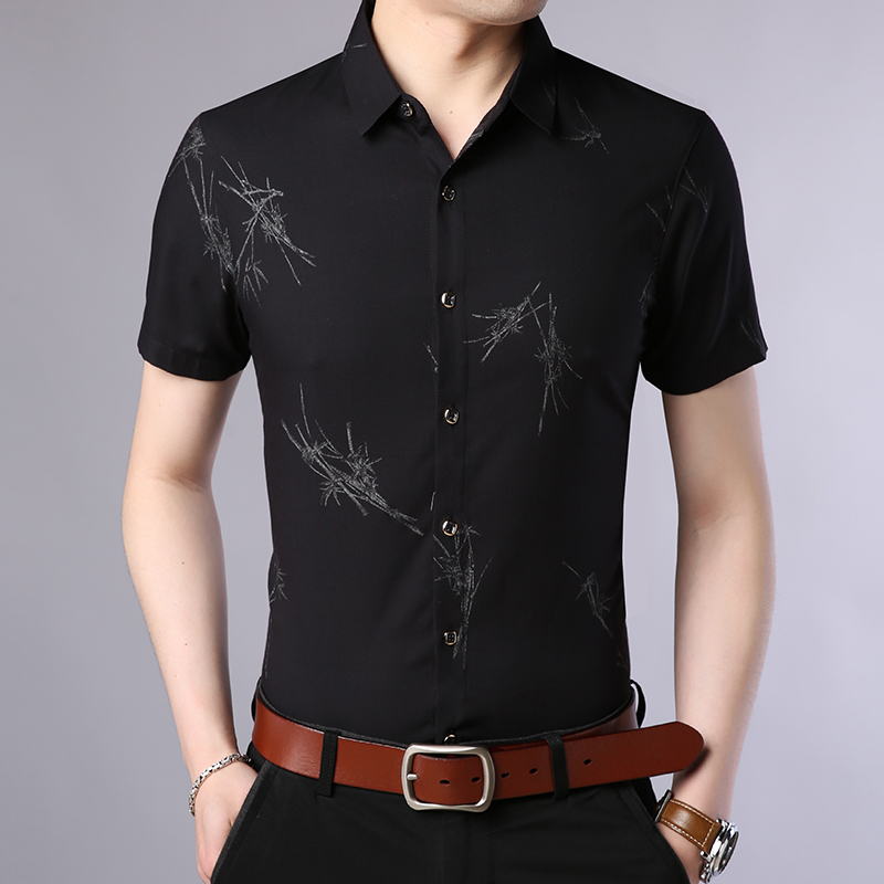 Mens ice silk shirt short sleeve Earth Middle Age real silk shirt printing color pattern ultra thin Chiffon half sleeve summer