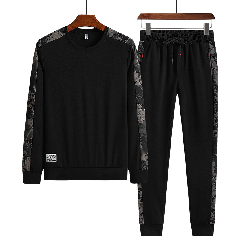 Spring and autumn plus fat plus size mens long sleeve T-shirt trend fat man suit mens fat sportswear casual wear