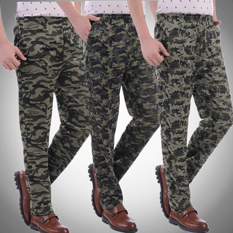 New mens camouflage straight pants high waist elastic loose sports uniform overalls summer thin long pants.