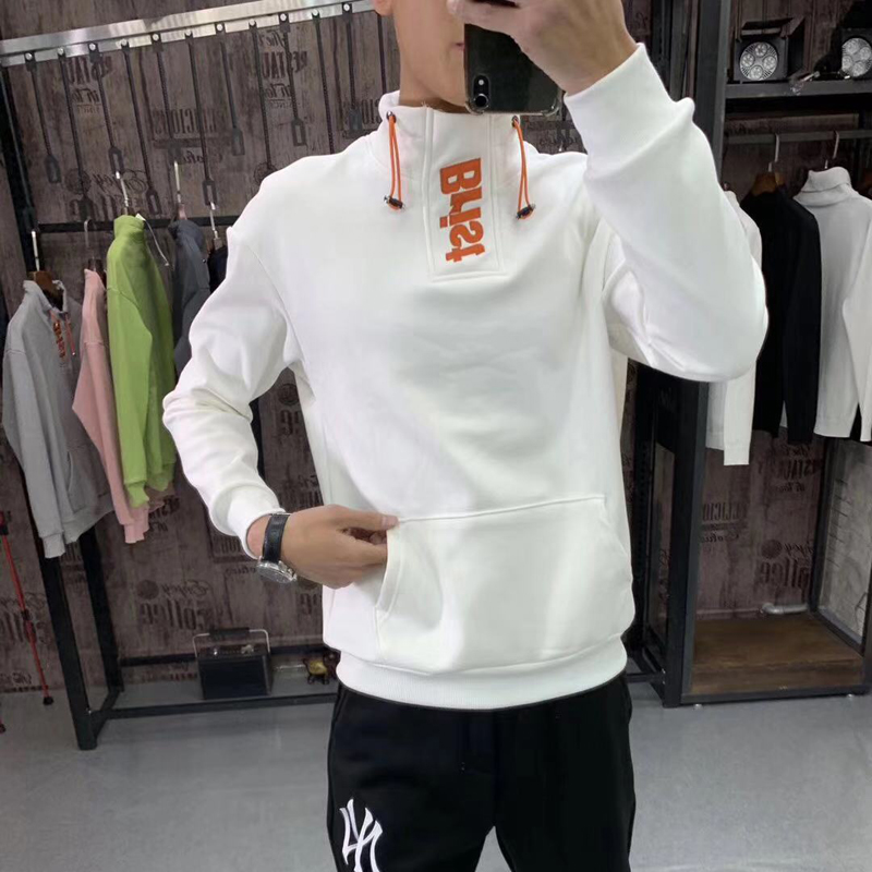 Trendy mens online red sweater 2020 spring new Korean slim stand collar casual couple bottoms small shirt trendy brand T-shirt