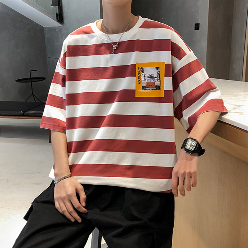 Cotton stripe short sleeve t-shirt mens trend simple Korean version mix and match 5-point sleeve loose Hong Kong Style fattening large size